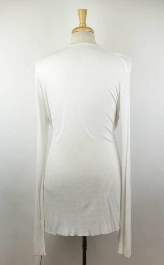 Julius 7 White Silk Blend Long Sleeve Long Ribbed Crewneck T-Shirt 3/M Size US M / EU 48-50 / 2 - 2