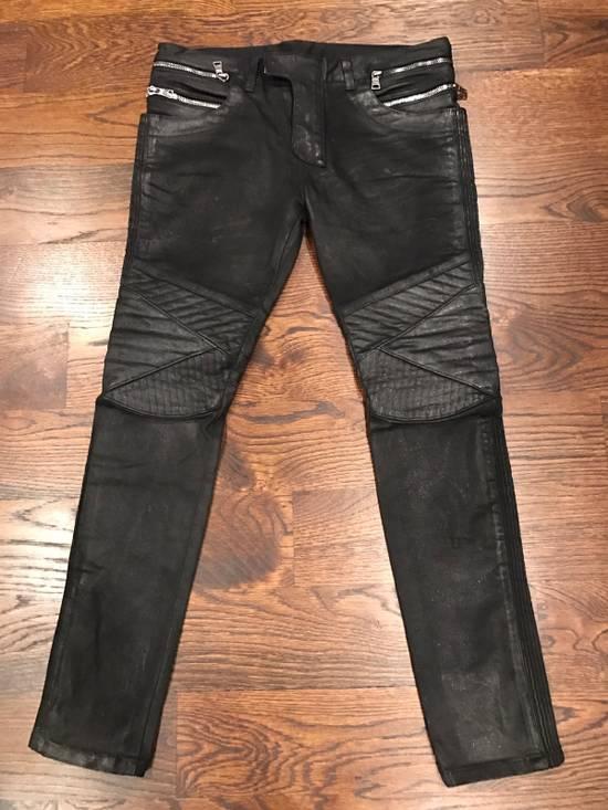 Balmain Balmain Black Waxed Biker Denim Jeans Size US 34 / EU 50