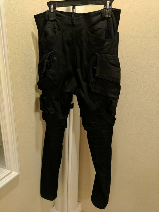 Julius Mint Archive Prism SS15 Runway Cargo Pants in black waxed stretch denim size 2 Size US 31 - 1