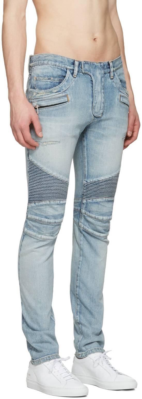 Balmain 1565$ Skinny Light Blue Distressed Biker Jeans Size US 33 - 3