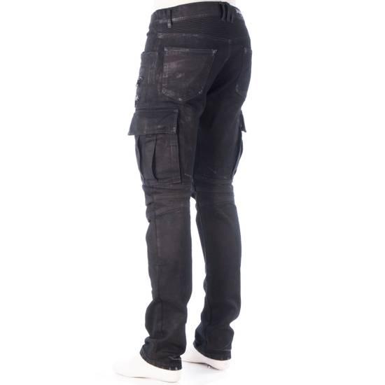 Balmain 1495$ Waxed Cargo Biker Jeans In Black Denim Size US 32 / EU 48 - 3