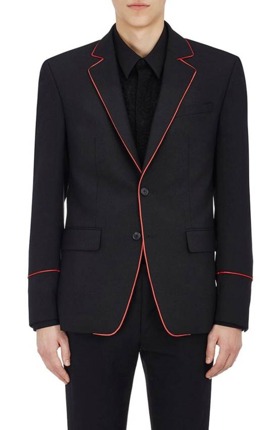 Givenchy Wool Mohair Contrast Piping Suit Size 42R - 1