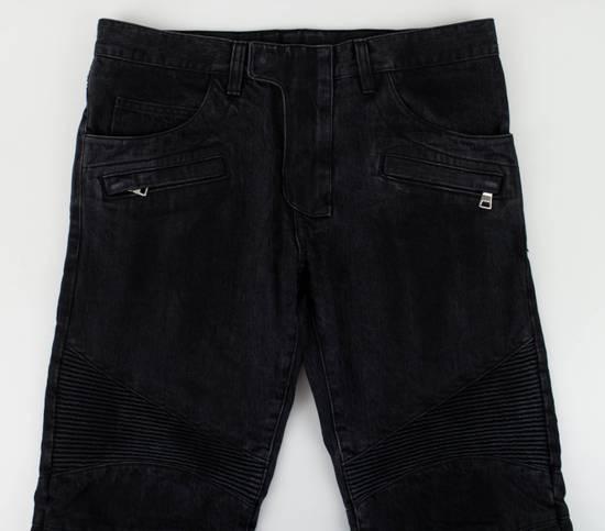 Balmain Black Cotton Denim Biker Jeans Size US 28 / EU 44 - 1