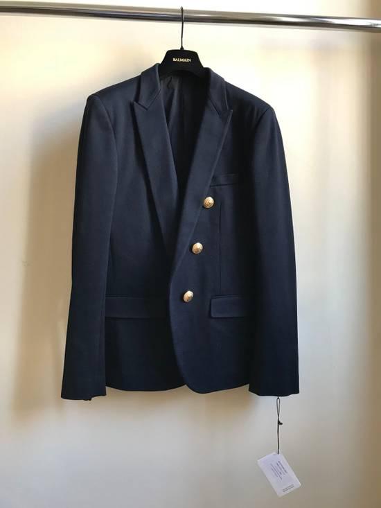 Balmain Slim Fit Cotton Navy Blazer Size 44R