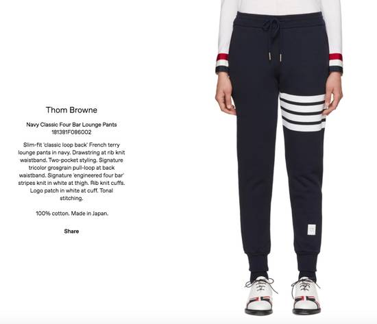 Thom Browne Navy Classic Four Bar Lounge Pants 181381F086002 Size US 35 - 4