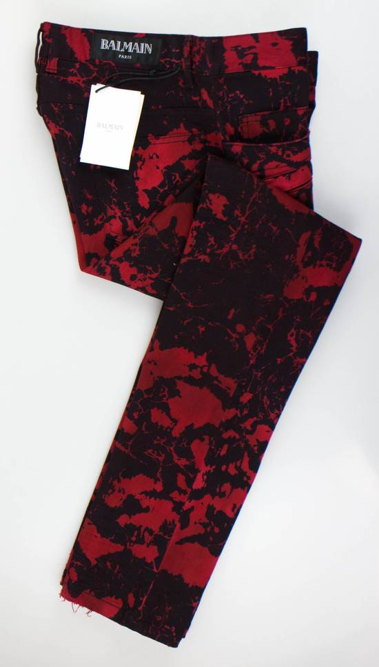 Balmain Red Camouflage Denim Straight Leg Jeans Pants Size US 30 / EU 46