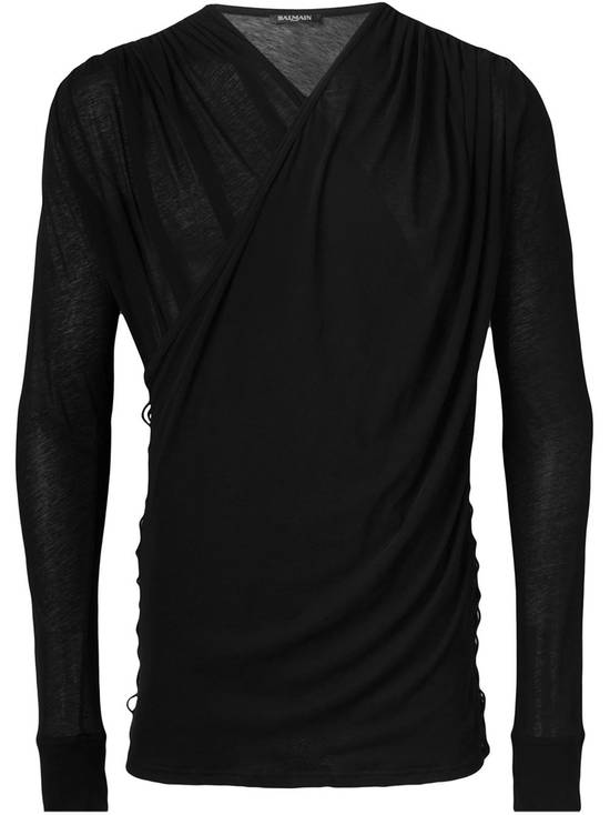 Balmain Draped Black Cotton & Linen V-Neck Sweater SS2016 Size US L / EU 52-54 / 3 - 1