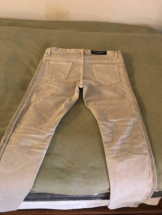 Balmain Distressed stretch-denim biker jeans Size US 31 - 4