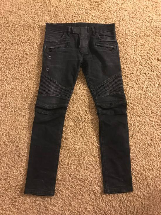 Balmain Balmain Black Cotton Denim Biker Jeans Size US 29