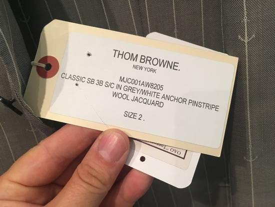 Thom Browne Sport Blazer in Grey/White Anchor Pinstripe Wool Jacquard Size US S / EU 44-46 / 1 - 2