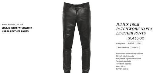 Julius Knee Paneled Leather Biker Pants Size US 30 / EU 46 - 10