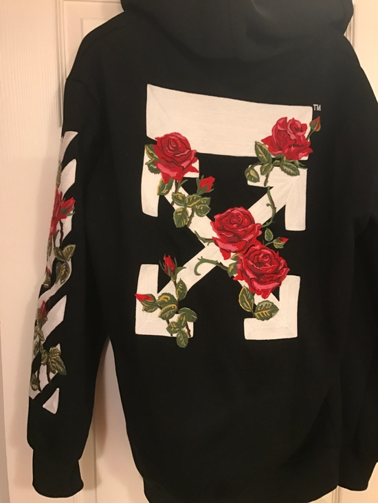 Off White Black Embroidered Roses Hoodie Size L Sweatshirts Amp Hoodies For Sale Grailed