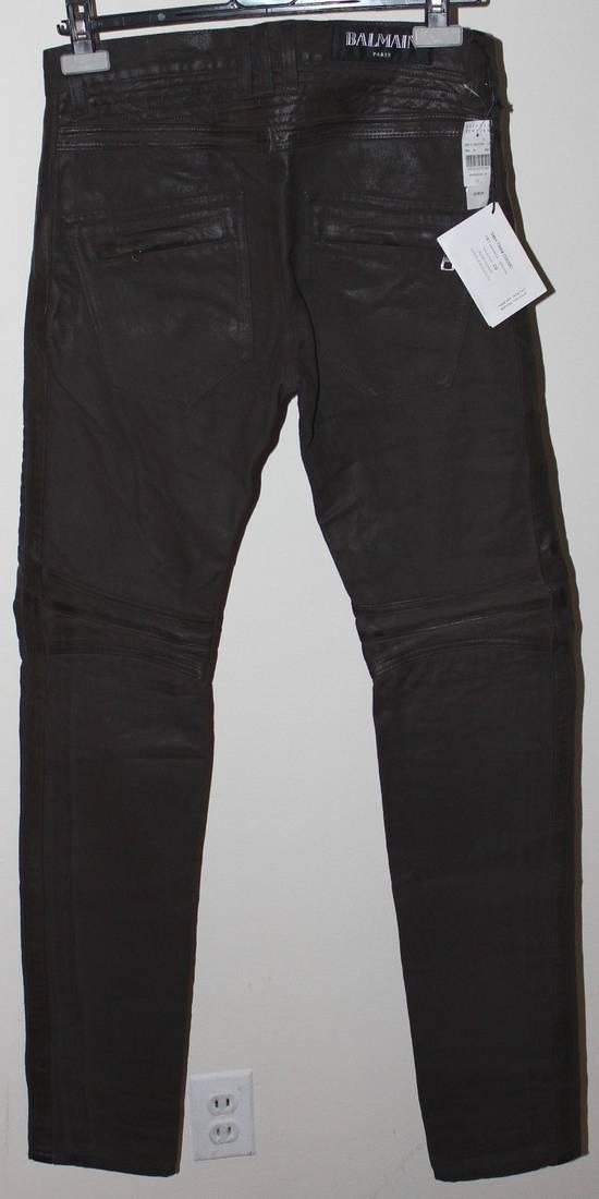 Balmain Balmain Waxed Moto Biker Jeans Leather Trim Size 29 BNWT Dark Brown Denim $2,295 Size US 29 - 4
