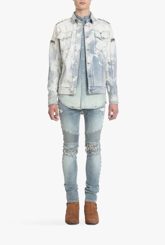 Balmain Light Blue Distressed Denim Jacket Size US S / EU 44-46 / 1 - 1