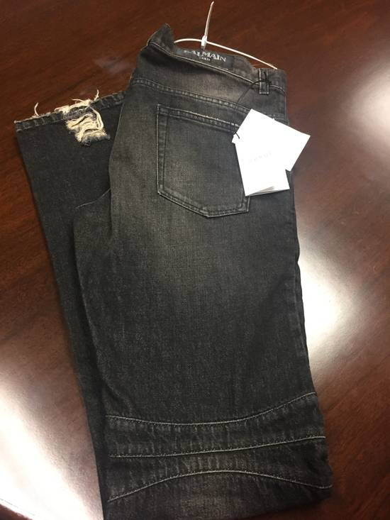 Balmain BIKER WASHED COTTON DENIM JEANS Black Size US 34 / EU 50 - 5