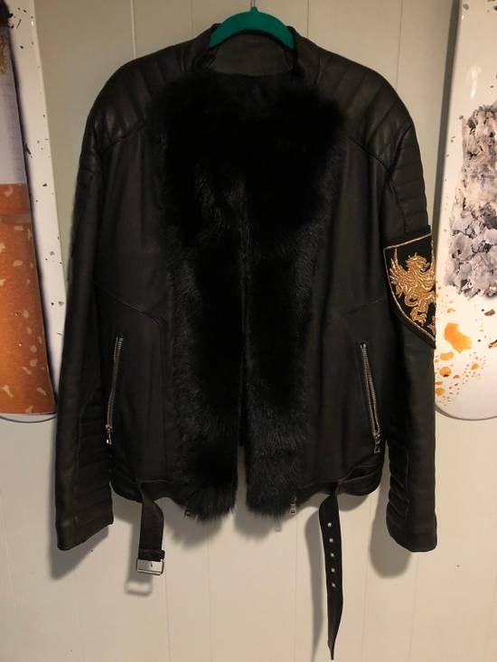 Balmain Fur Lined Leather Jacket Size US L / EU 52-54 / 3