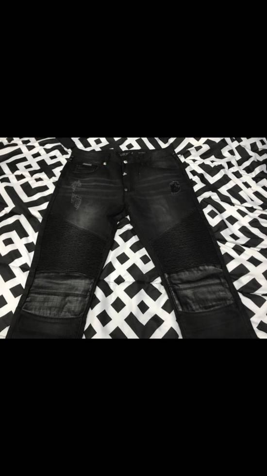 Balmain NWT Phillip Plein 1978 Balmain Denim Leather Jeans Size 34 Size US 34 / EU 50 - 1
