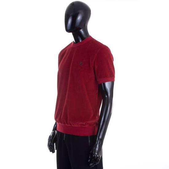 Givenchy Dark Red Men's Velour Crewneck T-Shirt With 4G Chest Logo Size US M / EU 48-50 / 2 - 1