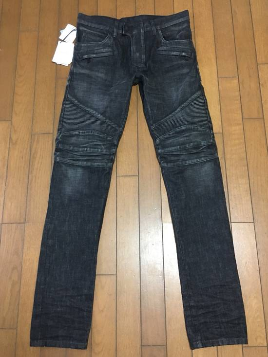 Balmain BNWT : Made In Japan Black Washed Biker Jeans W31 F17.5cm Size US 31 - 5