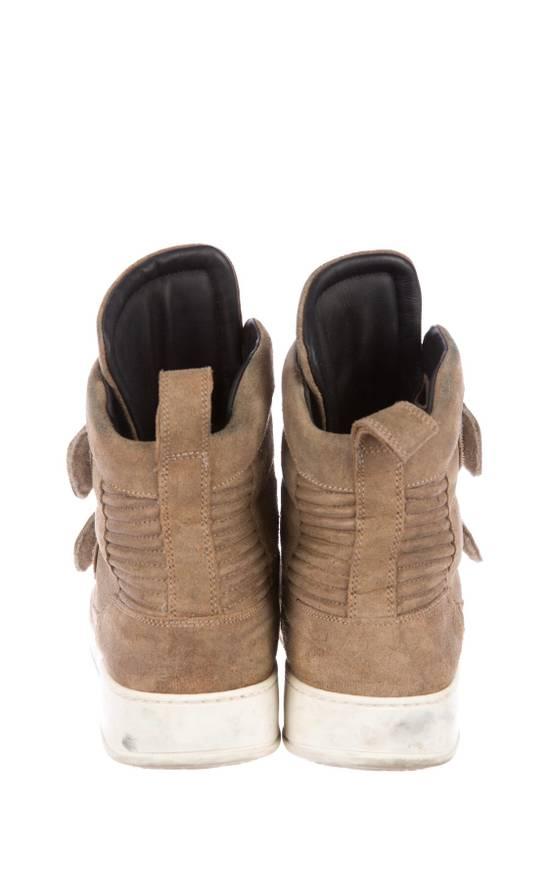 Balmain Balmain Taupe Velcro Strap Leather High-Top Ribbed Sneakers Size US 8 / EU 41 - 2