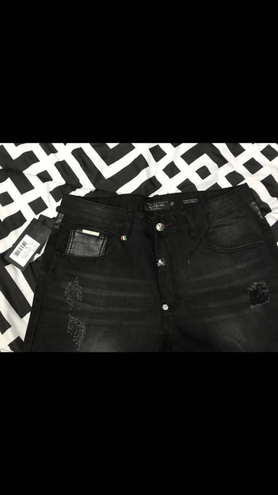 Balmain NWT Phillip Plein 1978 Balmain Denim Leather Jeans Size 34 Size US 34 / EU 50 - 2