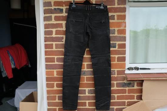 Balmain Black Waxed Biker Jeans Size US 36 / EU 52 - 7