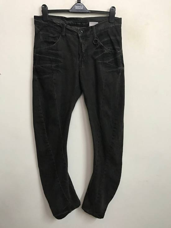 Julius Japanese Designer JULIUS7 Made in Japan Distressed Curved in Legs Denim Pant Size US 33 - 1