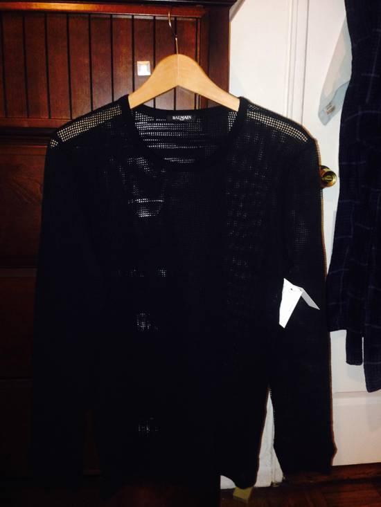 Balmain Balmain Black Mesh Cotton & Linen Long Sleeve Size US M / EU 48-50 / 2
