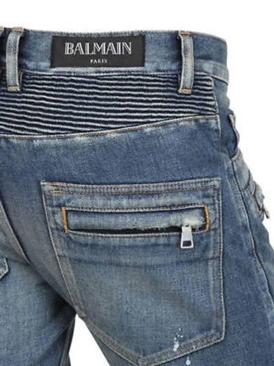 Balmain Balmain Painted Denim Blue Biker Authentic $1490 Jeans Size 27 New Size US 27 - 2