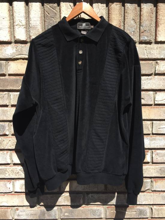 Givenchy Givenchy Monsieur Vintage Black Velour Sweatshirt Tracksuit Top Collared Button Pullover Ribbed XL 1980s 1990s Rugby Size US XL / EU 56 / 4