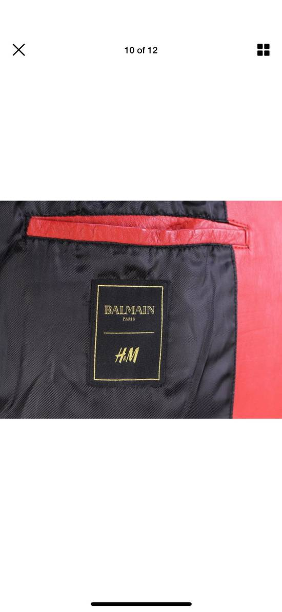 Balmain H&M x Balmain Red Leather Biker Jacket Size US S / EU 44-46 / 1 - 10