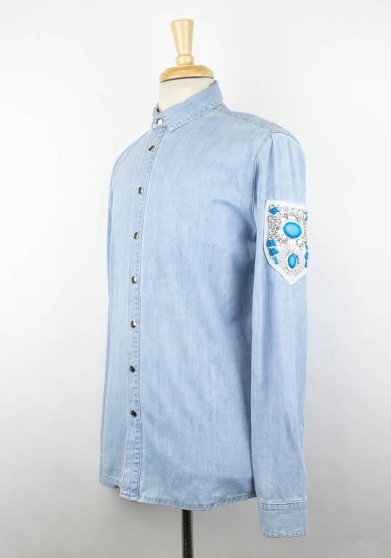 Balmain Denim Embroidered Button Down Casual Shirt Size 15.5 US 39 EU Size US XXS / EU 40 - 1