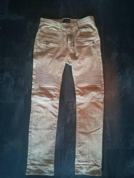Balmain NOT Balmain Slim Fit Tan Biker Jeans Size US 32 / EU 48