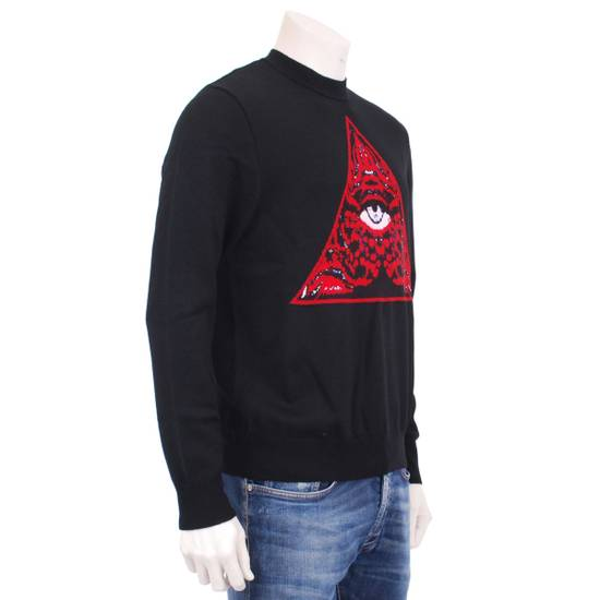 Givenchy Black Wool Knit Sweater With Red 'Eye of Providence' on front Size US L / EU 52-54 / 3 - 1