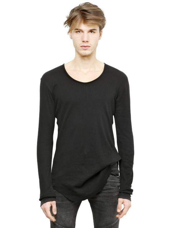 Balmain Black Ribbed Knit Long Sleeve T-shirt Size US M / EU 48-50 / 2 - 1
