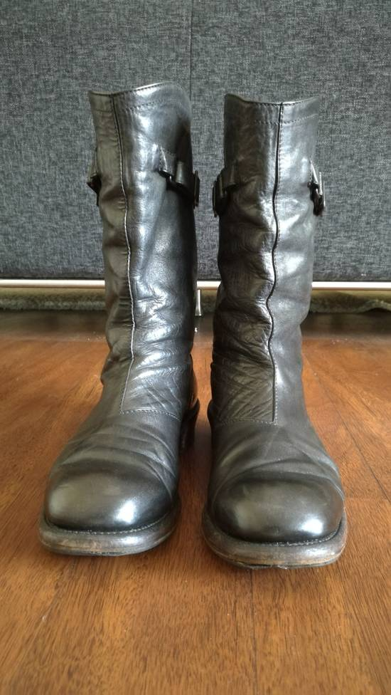 Julius 2008SS Black Horse Hide Tall Leather Strap Boots Size US 11 / EU 44 - 1