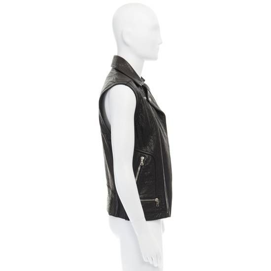 Balmain BALMAIN classic black pebble leather sleeveless biker jacket S FR46 US36 UK36 Size US S / EU 44-46 / 1 - 4