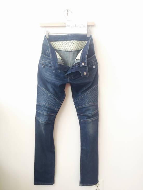 Balmain BLUE GEOMETRIC STRETCH DENIM TRAPUNTO QUILTED BIKER JEANS Size US 29 - 6