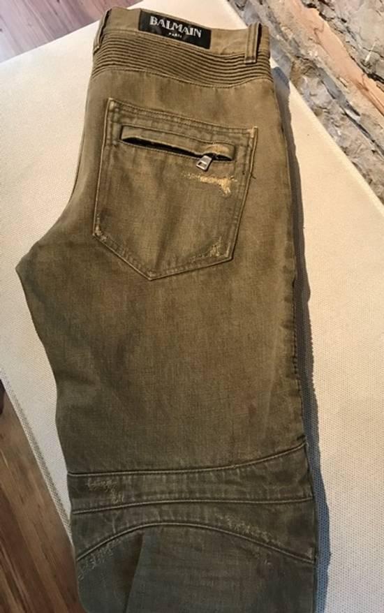 Balmain Balmain khaki destroyed biker jeans Size US 33 - 2