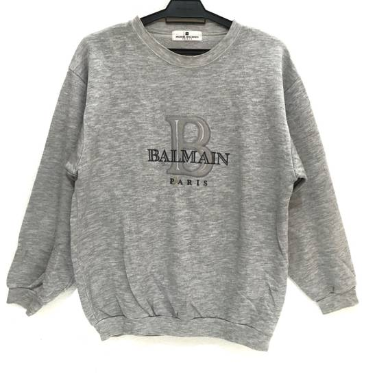 Balmain Vtg PIERRE BALMAIN PARIS Big Logo Made In JAPAN Gray MEDIUM Sweatshirt Jumper Size US M / EU 48-50 / 2