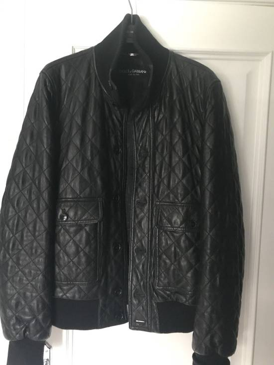Givenchy Men's Dolce & Gabanna Quilted Leather Bomber Jacket Size 48 Size US M / EU 48-50 / 2 - 9