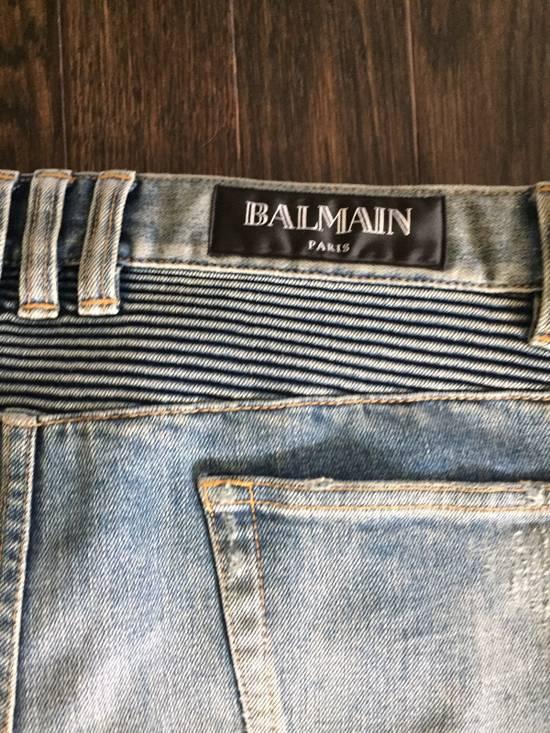 Balmain Balmain Blue Denim Motorcycle Jeans Size US 31 - 7