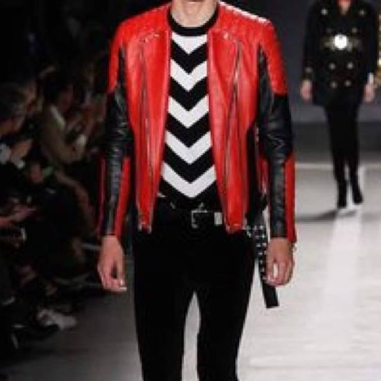 Balmain H&M x Balmain Red Leather Biker Jacket Size US S / EU 44-46 / 1