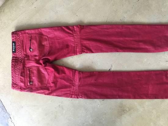 Balmain Red Coated Balmain Biker Jeans Size US 33 - 1