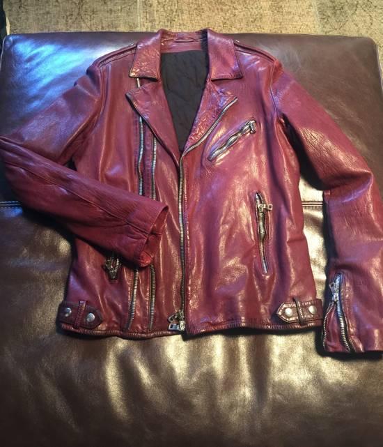 Balmain Lambskin Burgundy Biker Jacket Size US L / EU 52-54 / 3