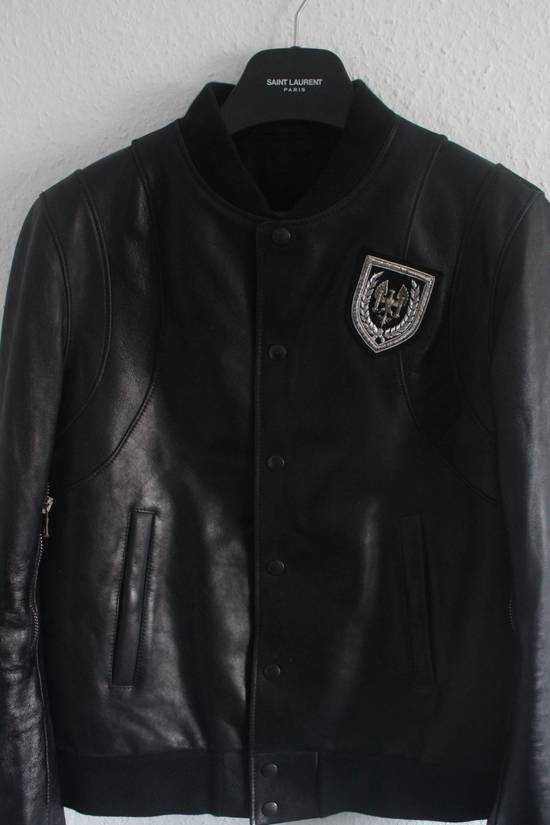 Balmain SS11 Decarnin Teddy Varsity Black Leather Jacket Kanye West 1of1 Size US L / EU 52-54 / 3 - 2