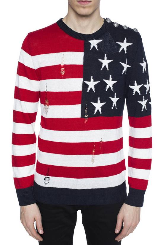 Balmain Brand New Balmain American Flag Raw Trimmed Sweater Size US M / EU 48-50 / 2 - 1