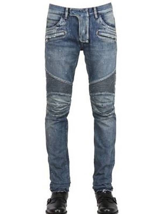 Balmain Balmain Painted Denim Blue Biker Authentic $1490 Jeans Size 27 New Size US 27