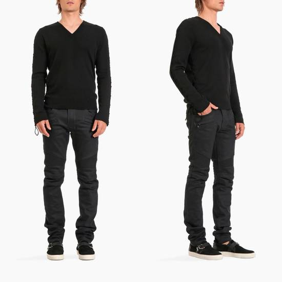 Balmain SS17 Balmain Biker Black Raw Jeans Size US 33 - 3