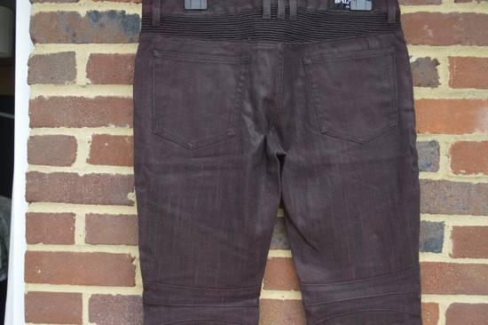 Balmain Bordeaux Waxed Biker Jeans Size US 34 / EU 50 - 4